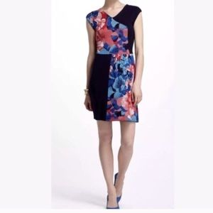 Anthropologie Knit Silk Floral Block Dress Small